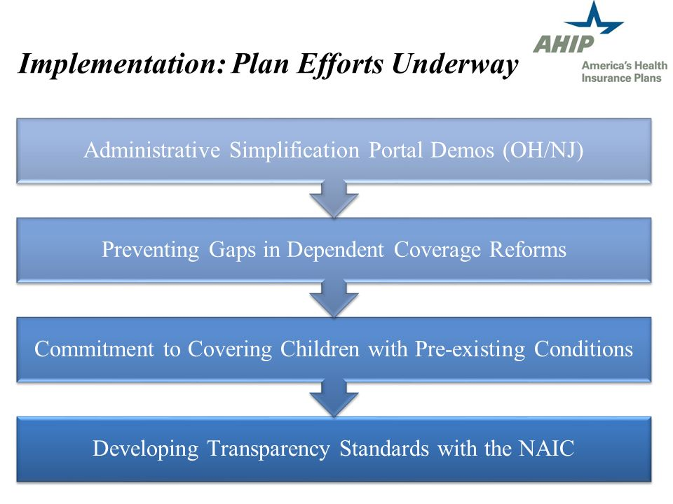 Implementation: Plan Efforts Underway Developing Transparency Standards with the NAIC Commitment to Covering Children with Pre-existing Conditions Preventing Gaps in Dependent Coverage Reforms Administrative Simplification Portal Demos (OH/NJ)
