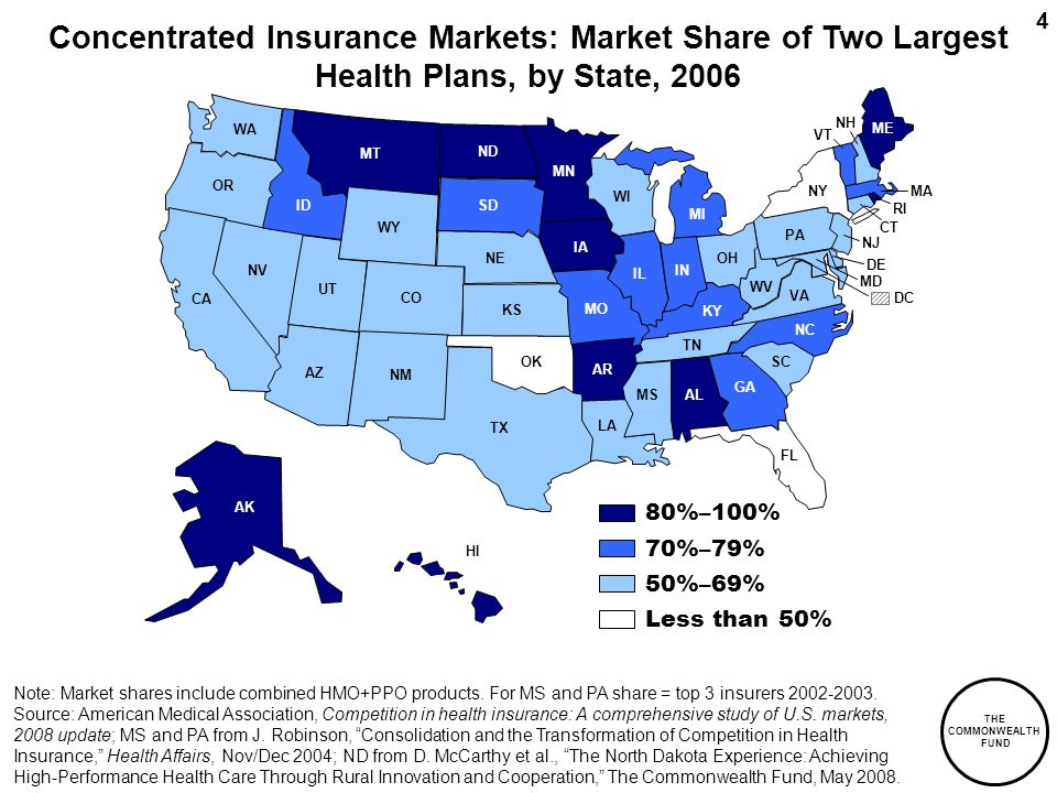 THE COMMONWEALTH FUND 4 70%–79% Less than 50% 50%–69% 80%–100% Concentrated Insurance Markets: Market Share of Two Largest Health Plans, by State, 200