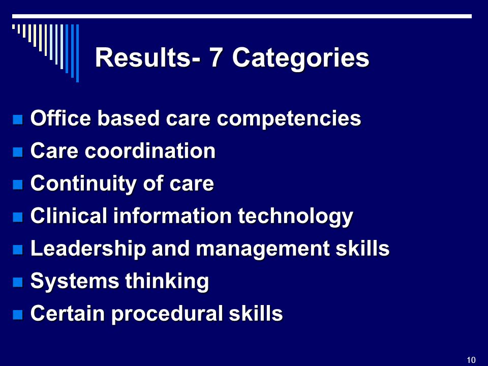 10 Results- 7 Categories Office based care competencies Office based care competencies Care coordination Care coordination Continuity of care Continuity of care Clinical information technology Clinical information technology Leadership and management skills Leadership and management skills Systems thinking Systems thinking Certain procedural skills Certain procedural skills