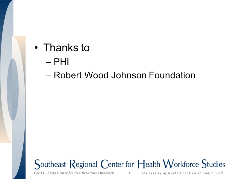 Thanks to –PHI –Robert Wood Johnson Foundation