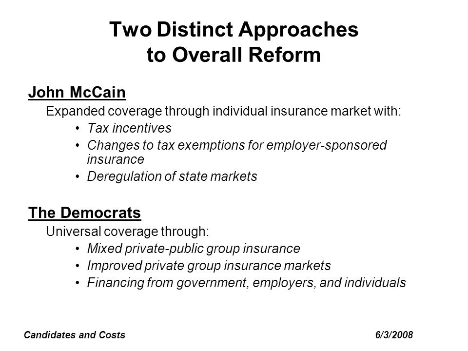 6/3/2008Candidates and Costs Two Distinct Approaches to Overall Reform John McCain Expanded coverage through individual insurance market with: Tax incentives Changes to tax exemptions for employer-sponsored insurance Deregulation of state markets The Democrats Universal coverage through: Mixed private-public group insurance Improved private group insurance markets Financing from government, employers, and individuals