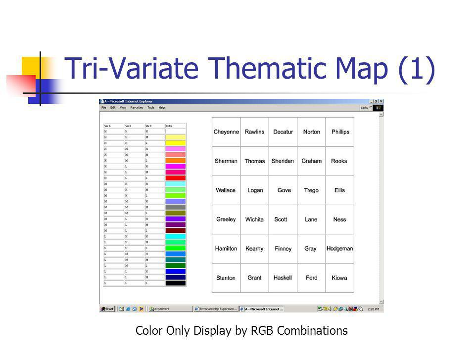 Tri-Variate Thematic Map (1) Color Only Display by RGB Combinations