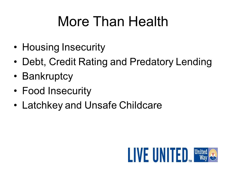 More Than Health Housing Insecurity Debt, Credit Rating and Predatory Lending Bankruptcy Food Insecurity Latchkey and Unsafe Childcare
