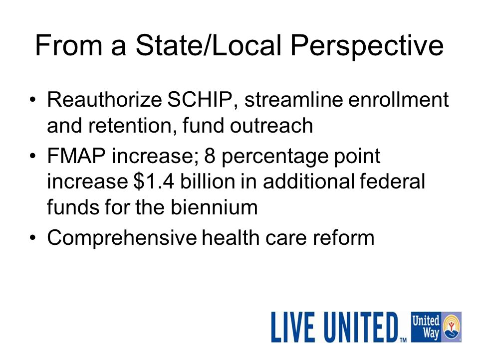 From a State/Local Perspective Reauthorize SCHIP, streamline enrollment and retention, fund outreach FMAP increase; 8 percentage point increase $1.4 b
