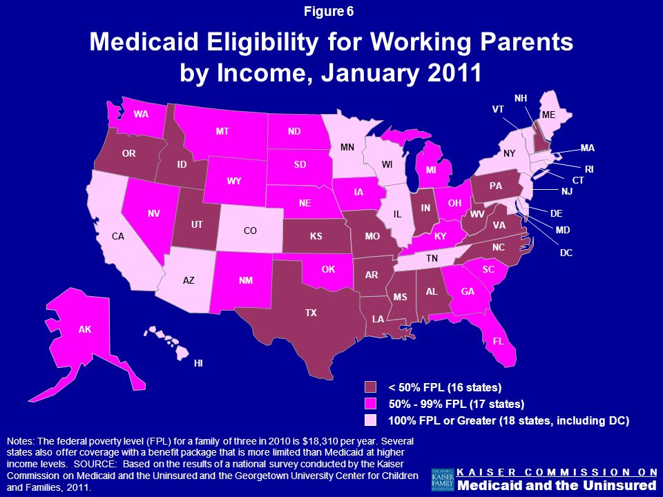 Figure 5 K A I S E R C O M M I S S I O N O N Medicaid and the Uninsured Medicaid eligibility levels are more limited for adults than for children.