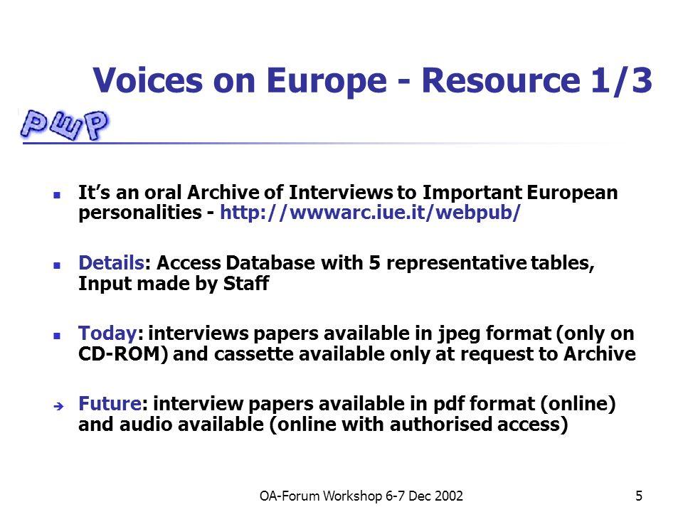 OA-Forum Workshop 6-7 Dec 200226 Voices on Europe – Table Evoc and description Level 1, 2, 3 – Thesaurus Eurovoc.