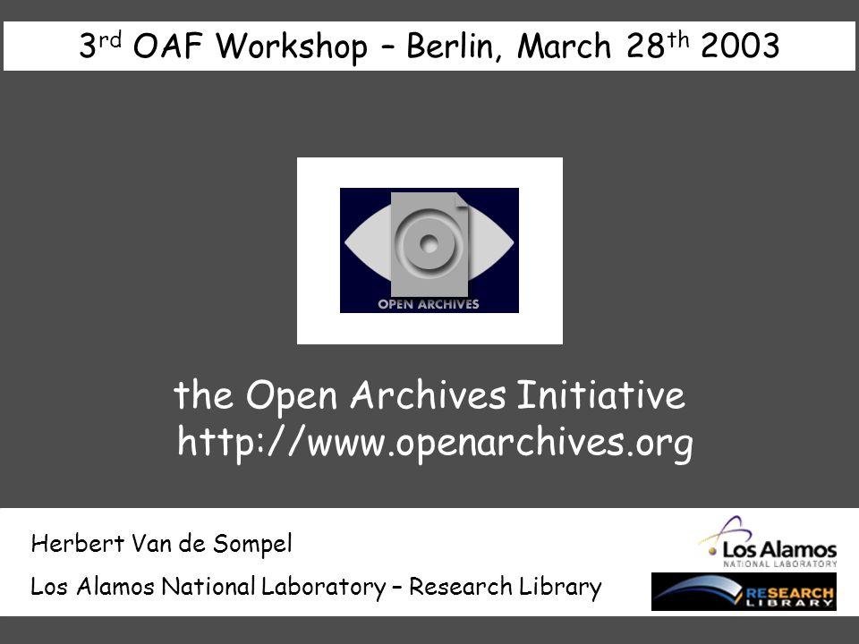 outline origin & evolution & future innovative use of OAI-PMH