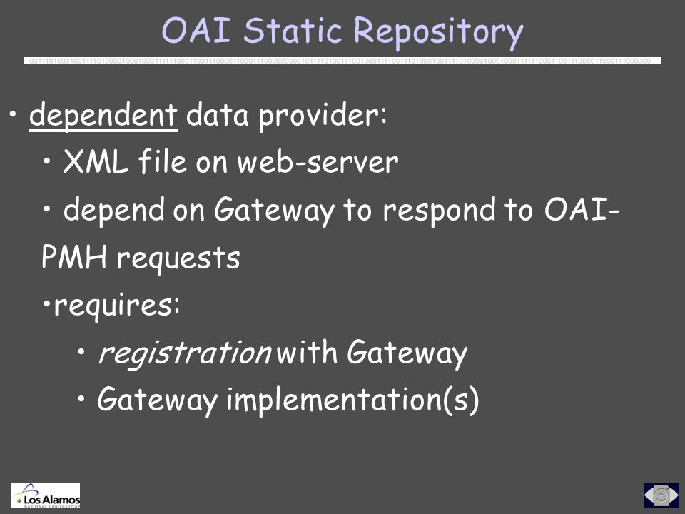 OAI Static Repository dependent data provider: XML file on web-server depend on Gateway to respond to OAI- PMH requests requires: registration with Gateway Gateway implementation(s)