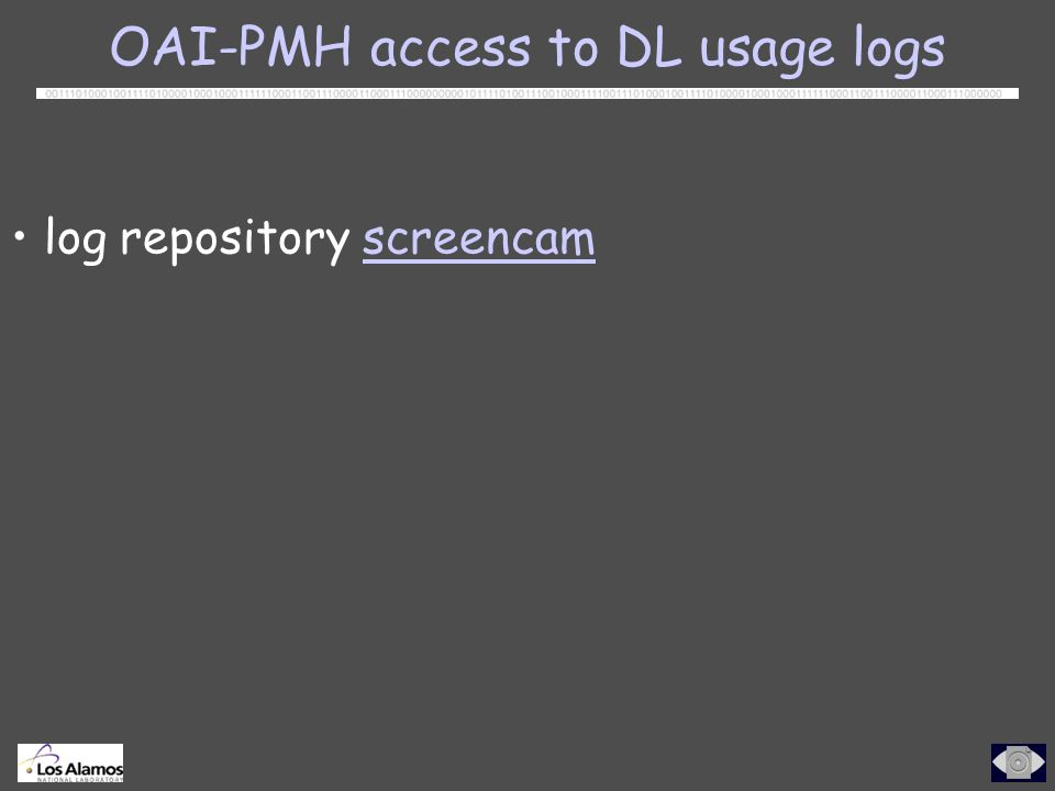 log repository screencamscreencam OAI-PMH access to DL usage logs