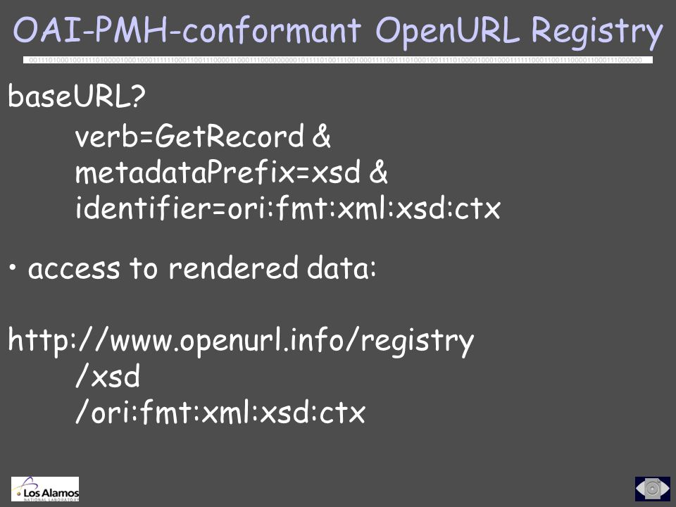 OAI-PMH-conformant OpenURL Registry baseURL.