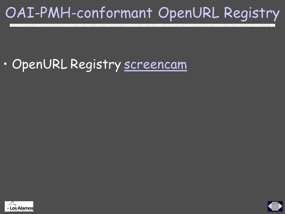 OpenURL Registry screencamscreencam OAI-PMH-conformant OpenURL Registry