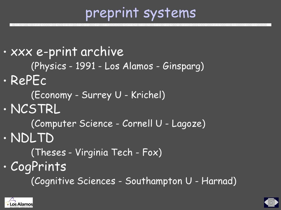 preprint systems xxx e-print archive (Physics Los Alamos - Ginsparg) RePEc (Economy - Surrey U - Krichel) NCSTRL (Computer Science - Cornell U - Lagoze) NDLTD (Theses - Virginia Tech - Fox) CogPrints (Cognitive Sciences - Southampton U - Harnad)