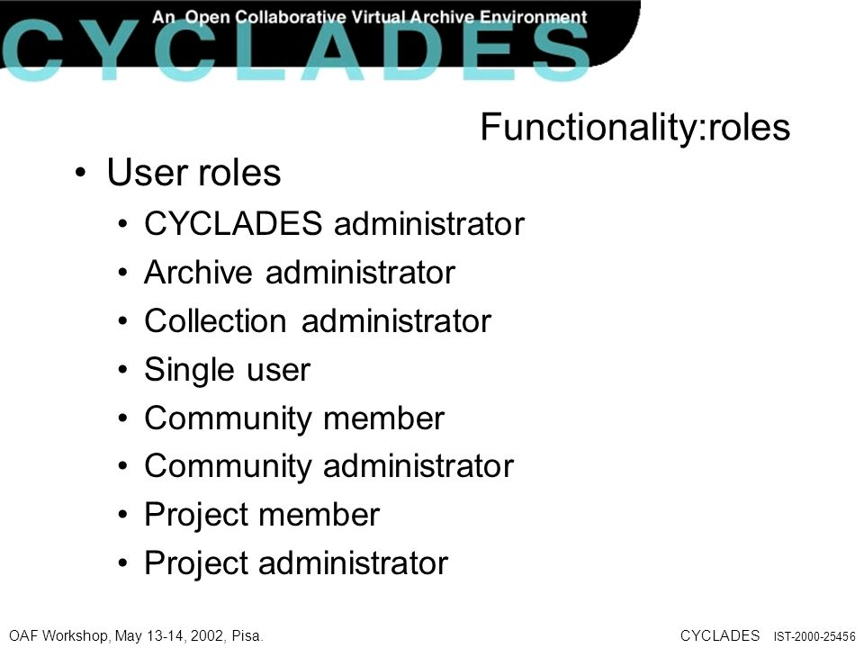OAF Workshop, May 13-14, 2002, Pisa.CYCLADES IST-2000-25456 User roles CYCLADES administrator Archive administrator Collection administrator Single user Community member Community administrator Project member Project administrator Functionality:roles