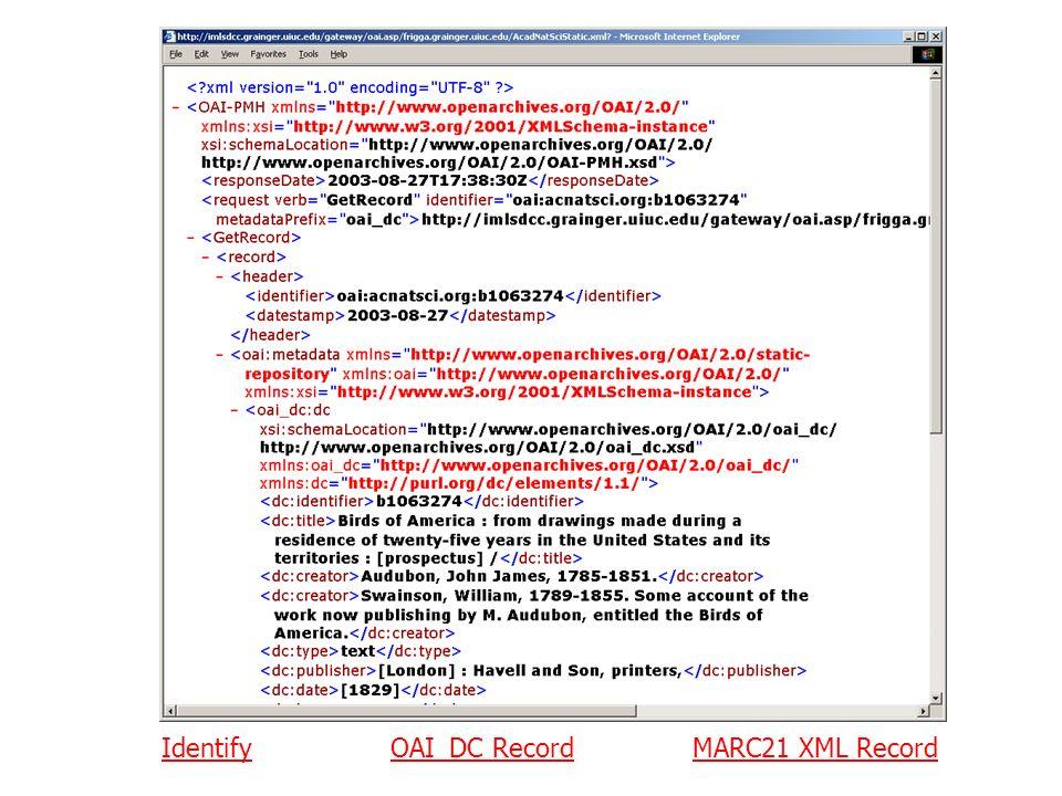 IdentifyIdentify OAI_DC RecordMARC21 XML RecordOAI_DC RecordMARC21 XML Record