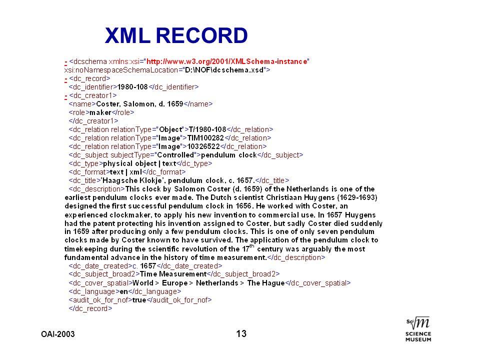 OAI-2003 13 XML RECORD