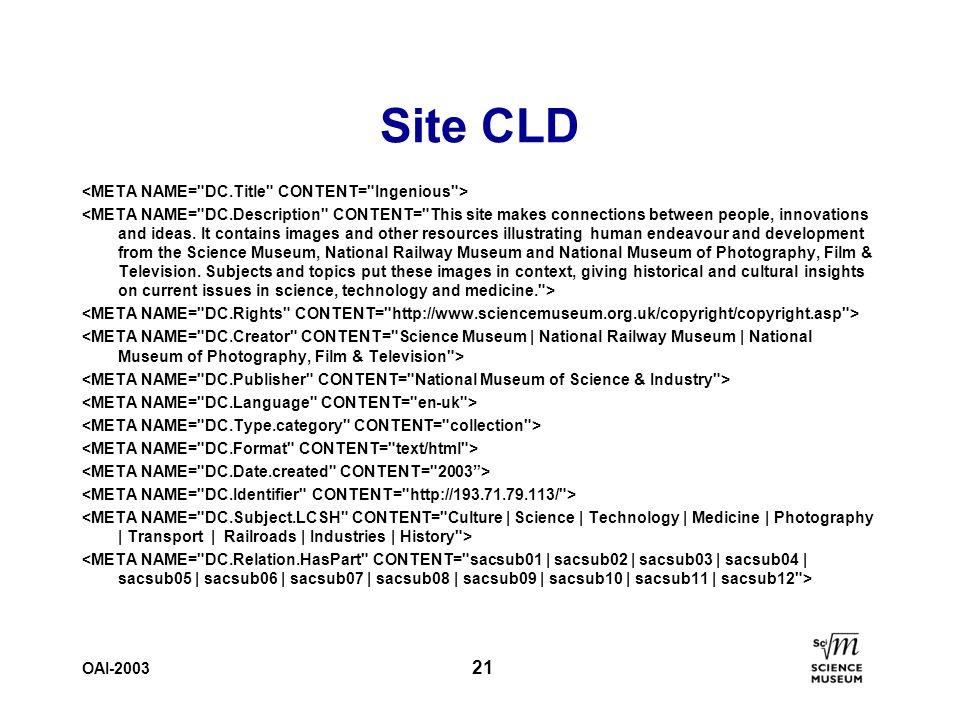 OAI-2003 21 Site CLD