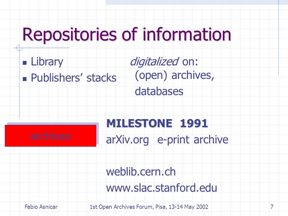 Fabio Asnicar1st Open Archives Forum, Pisa, 13-14 May 20027 Repositories of information digitalized on: (open) archives, databases MILESTONE 1991 arXi