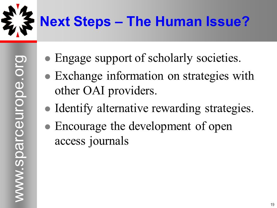 Next Steps – The Human Issue.