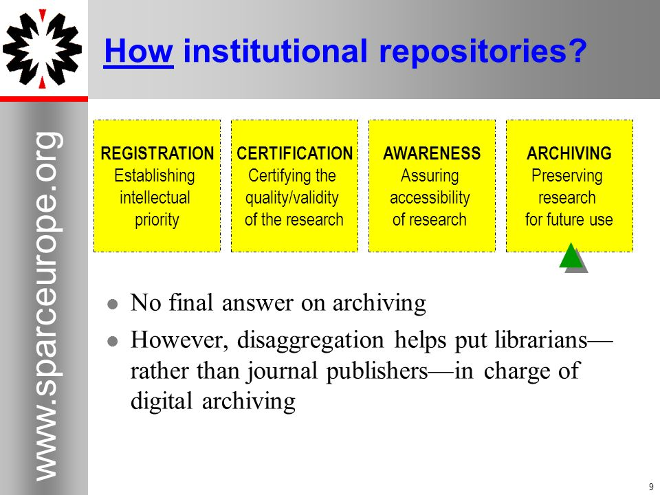 9   9 How institutional repositories.