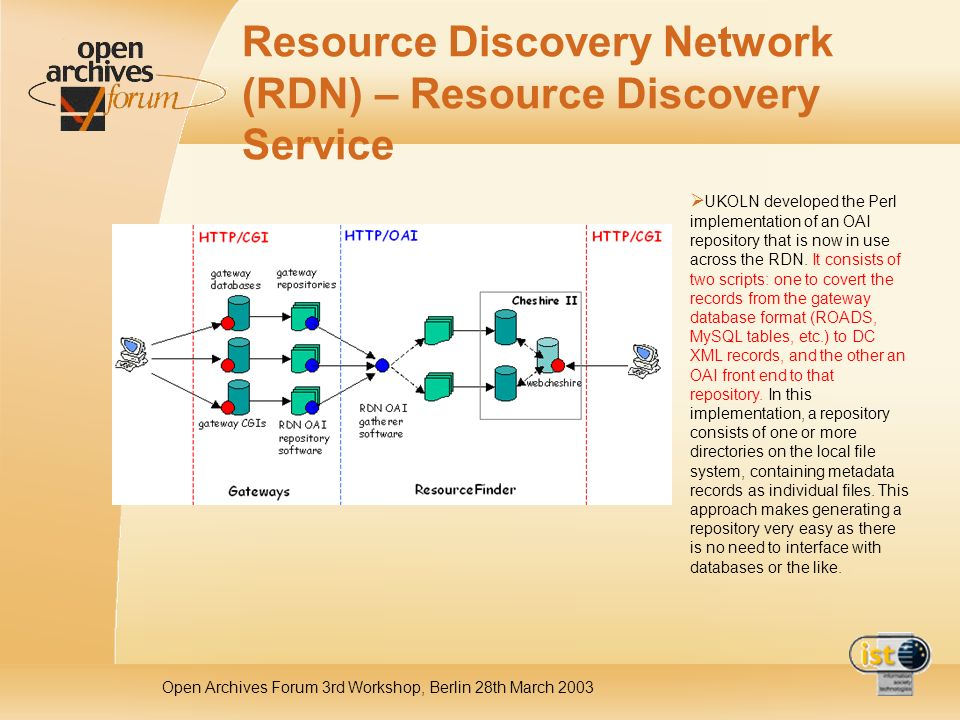Open Archives Forum 3rd Workshop, Berlin 28th March 2003 Resource Discovery Network (RDN) – Resource Discovery Service UKOLN developed the Perl implementation of an OAI repository that is now in use across the RDN.