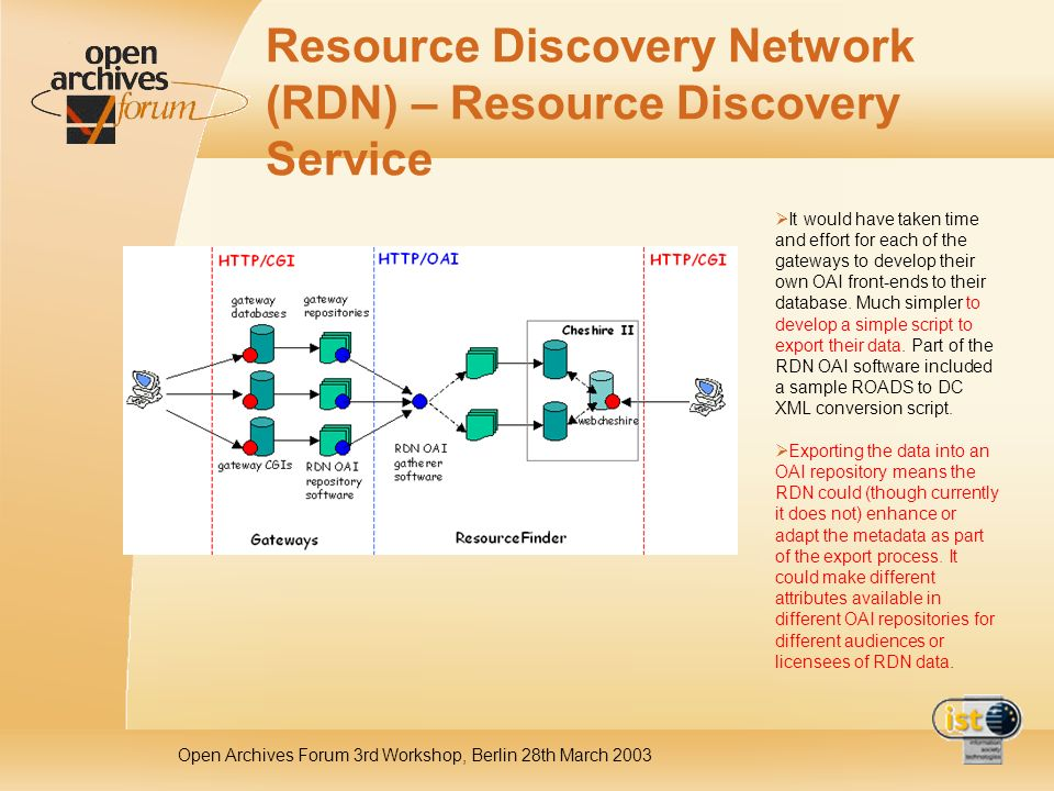 Open Archives Forum 3rd Workshop, Berlin 28th March 2003 Resource Discovery Network (RDN) – Resource Discovery Service It would have taken time and effort for each of the gateways to develop their own OAI front-ends to their database.