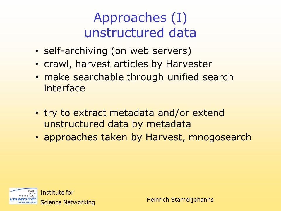 Heinrich Stamerjohanns Institute for Science Networking OAD PhysDoc as Service-Provider OAI Data-Provider OAI Data-Provider Scheduler XML Parser Mapper Normalizer Metadata Container as SQL DB WWW Search Interface
