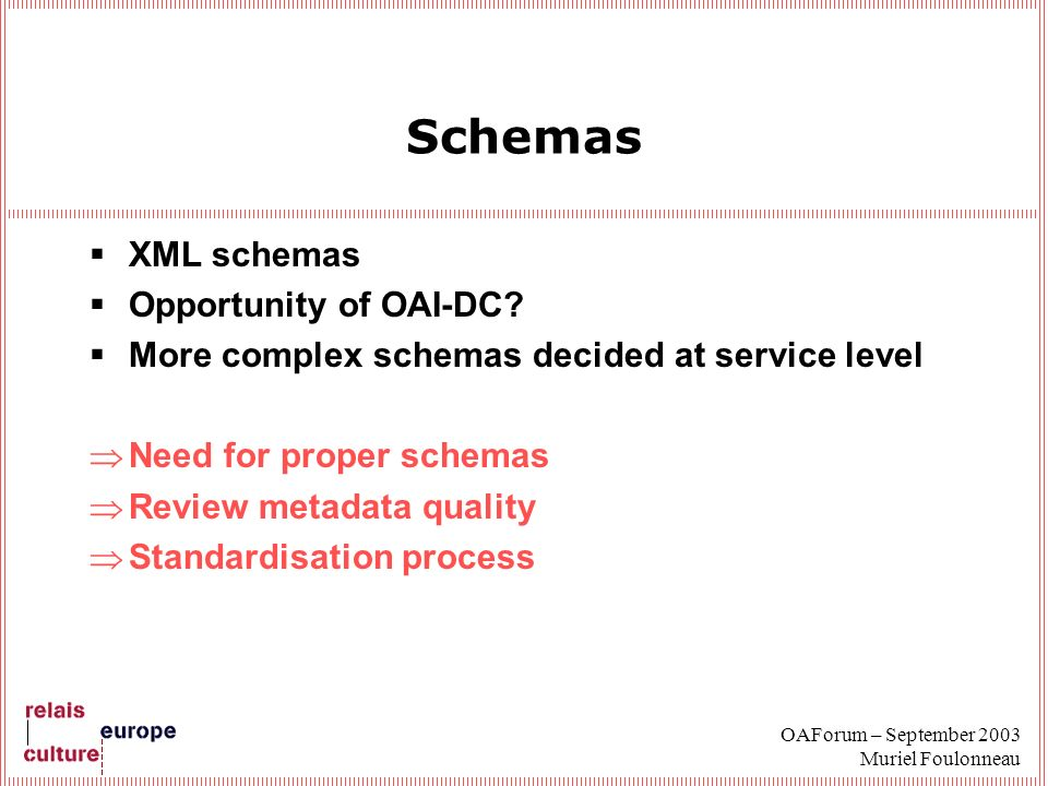 OAForum – September 2003 Muriel Foulonneau Schemas XML schemas Opportunity of OAI-DC? More complex schemas decided at service level Need for proper sc