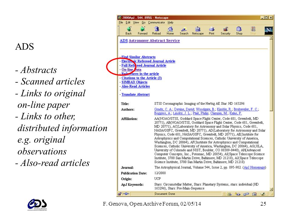 F. Genova, Open Archive Forum, 02/05/1425 ADS - Abstracts - Scanned articles - Links to original on-line paper - Links to other, distributed informati