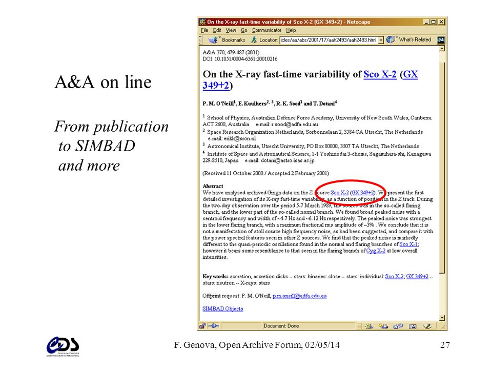 F. Genova, Open Archive Forum, 02/05/1427 A&A on line From publication to SIMBAD and more