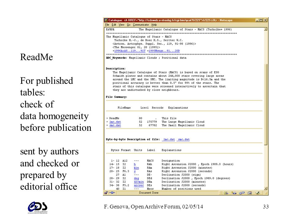 F. Genova, Open Archive Forum, 02/05/1433 ReadMe For published tables: check of data homogeneity before publication sent by authors and checked or pre