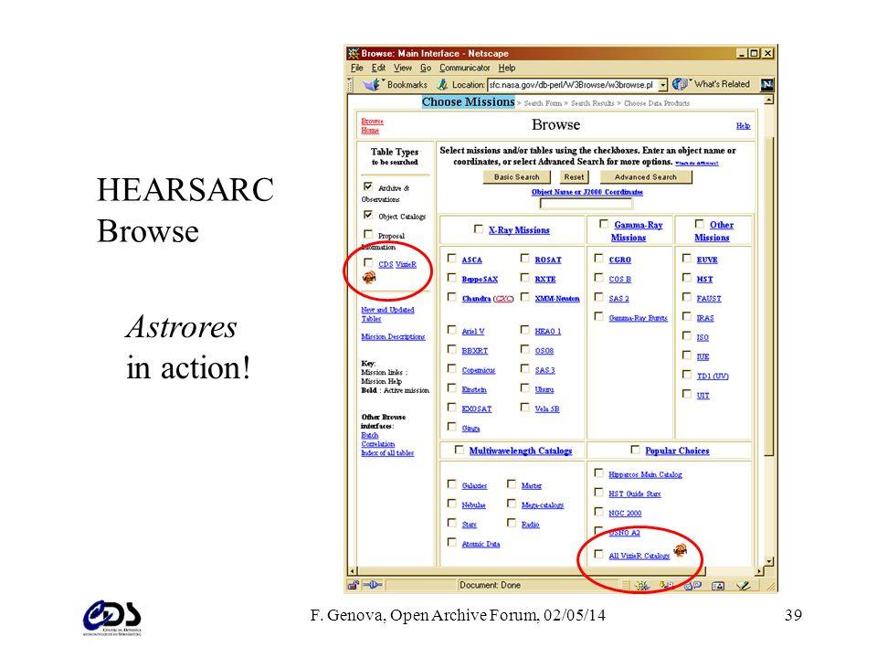 F. Genova, Open Archive Forum, 02/05/1439 HEARSARC Browse Astrores in action!
