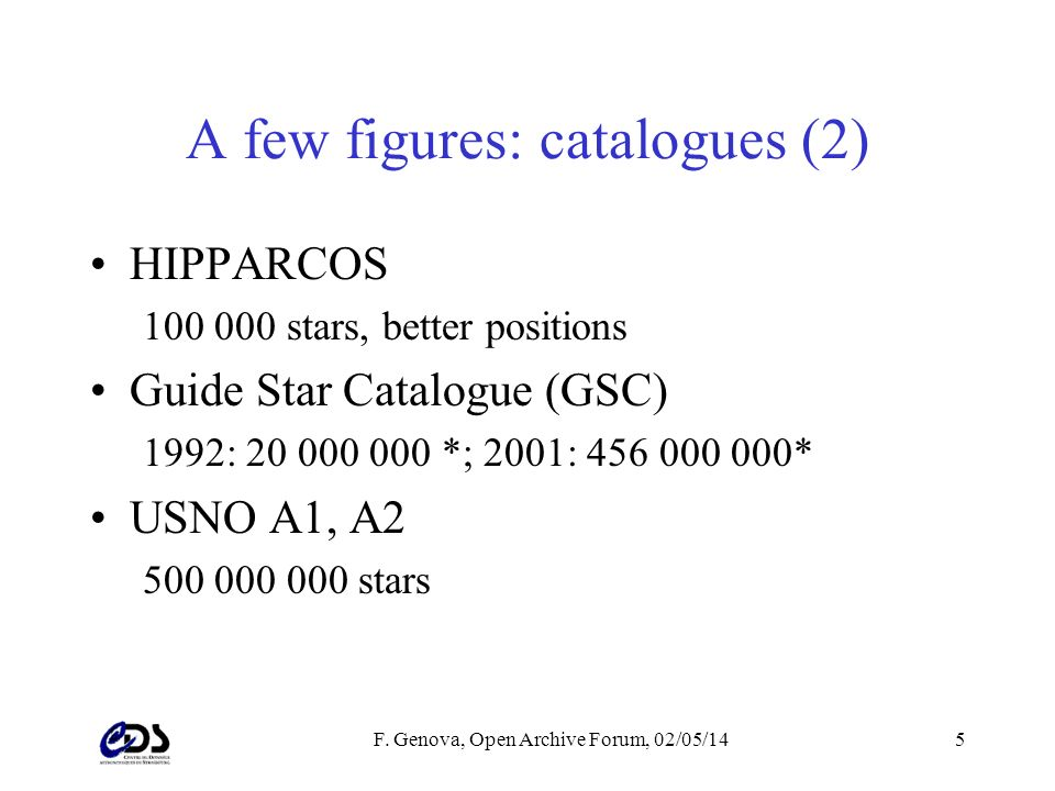 F. Genova, Open Archive Forum, 02/05/145 A few figures: catalogues (2) HIPPARCOS 100 000 stars, better positions Guide Star Catalogue (GSC) 1992: 20 0