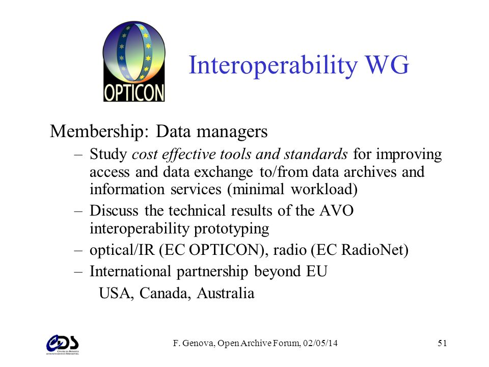 F. Genova, Open Archive Forum, 02/05/1451 Interoperability WG Membership: Data managers –Study cost effective tools and standards for improving access