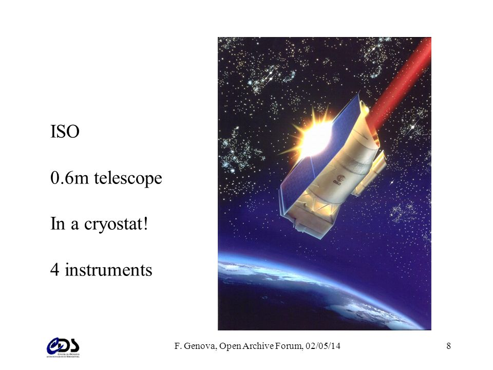 F. Genova, Open Archive Forum, 02/05/148 ISO 0.6m telescope In a cryostat! 4 instruments