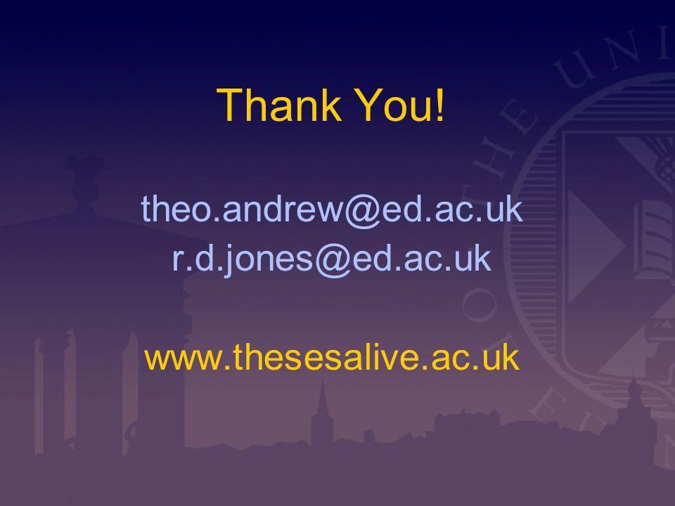 Thank You! theo.andrew@ed.ac.uk r.d.jones@ed.ac.uk www.thesesalive.ac.uk