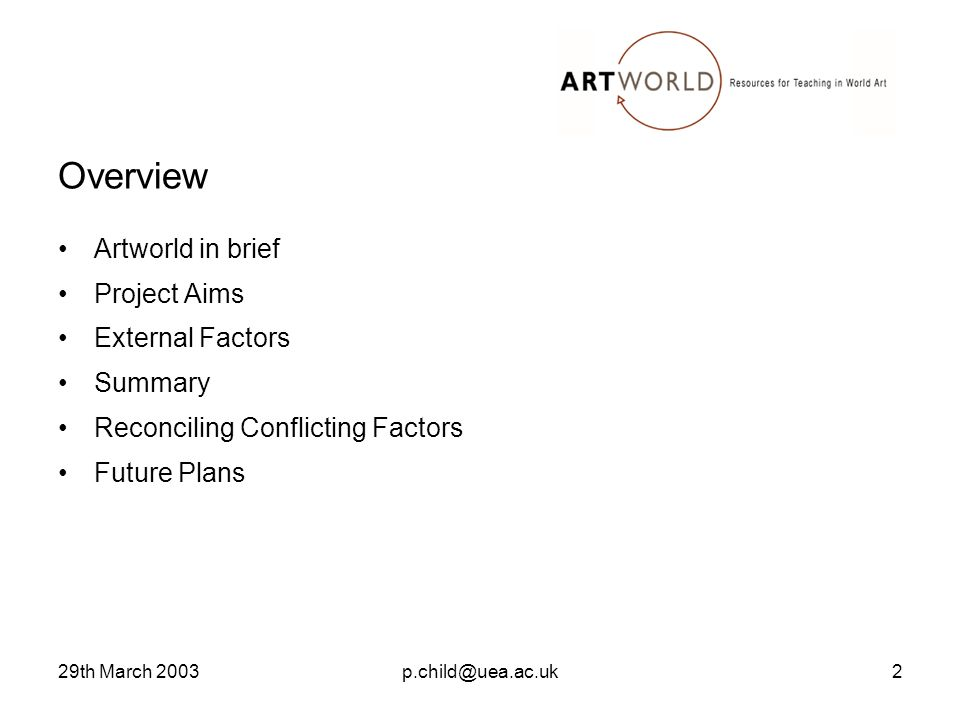 29th March 2003p.child@uea.ac.uk2 Overview Artworld in brief Project Aims External Factors Summary Reconciling Conflicting Factors Future Plans
