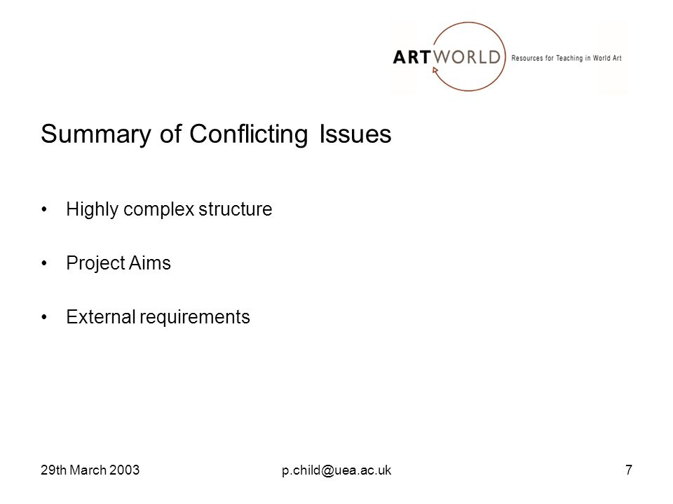 29th March 2003p.child@uea.ac.uk7 Summary of Conflicting Issues Highly complex structure Project Aims External requirements
