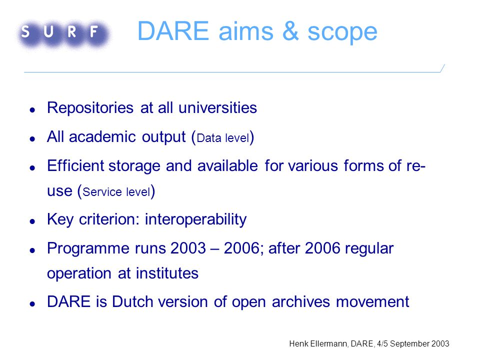 DARE aims & scope Repositories at all universities All academic output ( Data level ) Efficient storage and available for various forms of re- use ( Service level ) Key criterion: interoperability Programme runs 2003 – 2006; after 2006 regular operation at institutes DARE is Dutch version of open archives movement Henk Ellermann, DARE, 4/5 September 2003