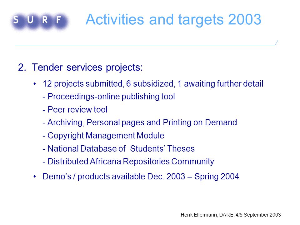 Activities and targets 2003 2.