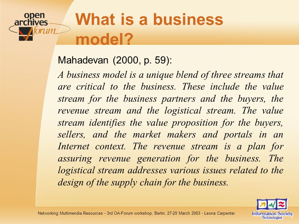 Networking Multimendia Resources - 3rd OA-Forum workshop, Berlin, 27-29 March 2003 - Leona Carpenter What is a business model.