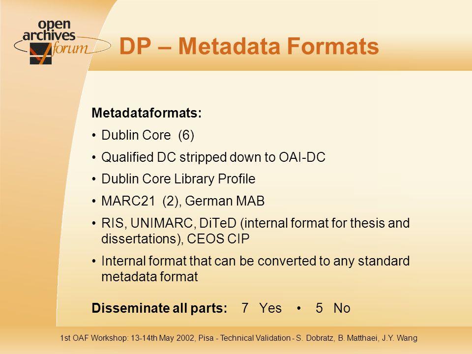 1st OAF Workshop: 13-14th May 2002, Pisa - Technical Validation - S. Dobratz, B. Matthaei, J.Y. Wang DP – Metadata Formats Metadataformats: Dublin Cor