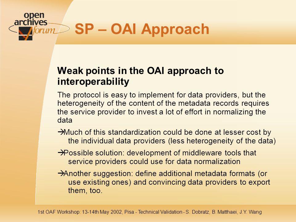1st OAF Workshop: 13-14th May 2002, Pisa - Technical Validation - S. Dobratz, B. Matthaei, J.Y. Wang SP – OAI Approach Weak points in the OAI approach