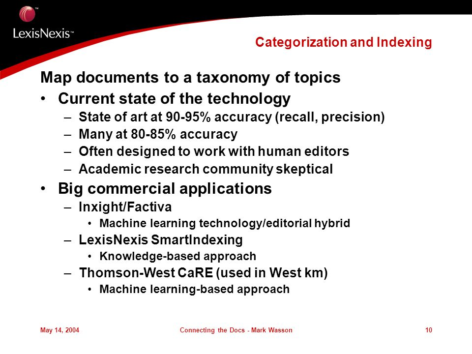 May 14, 2004Connecting the Docs - Mark Wasson10 Categorization and Indexing Map documents to a taxonomy of topics Current state of the technology –State of art at 90-95% accuracy (recall, precision) –Many at 80-85% accuracy –Often designed to work with human editors –Academic research community skeptical Big commercial applications –Inxight/Factiva Machine learning technology/editorial hybrid –LexisNexis SmartIndexing Knowledge-based approach –Thomson-West CaRE (used in West km) Machine learning-based approach