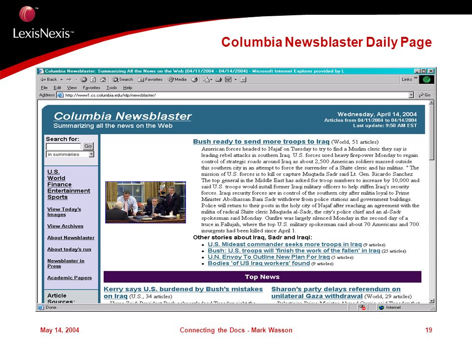 May 14, 2004Connecting the Docs - Mark Wasson19 Columbia Newsblaster Daily Page