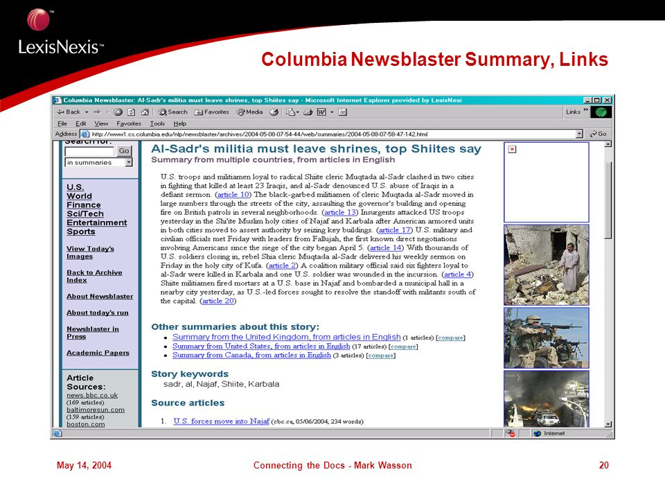 May 14, 2004Connecting the Docs - Mark Wasson20 Columbia Newsblaster Summary, Links