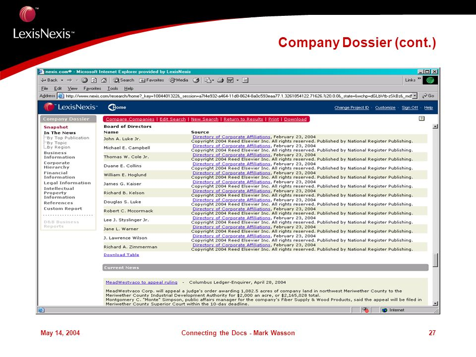May 14, 2004Connecting the Docs - Mark Wasson27 Company Dossier (cont.)