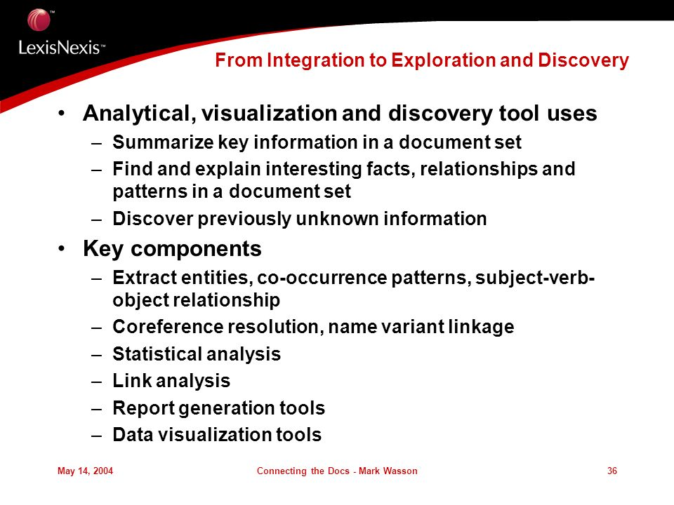 May 14, 2004Connecting the Docs - Mark Wasson36 From Integration to Exploration and Discovery Analytical, visualization and discovery tool uses –Summarize key information in a document set –Find and explain interesting facts, relationships and patterns in a document set –Discover previously unknown information Key components –Extract entities, co-occurrence patterns, subject-verb- object relationship –Coreference resolution, name variant linkage –Statistical analysis –Link analysis –Report generation tools –Data visualization tools