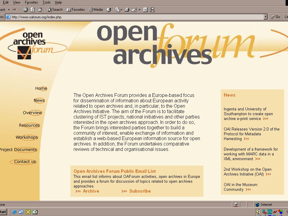 Open Archives Forum, IST 2001-32015 -- INETBIB -- Goettingen -- September 2002 -- Leona Carpenter Home page