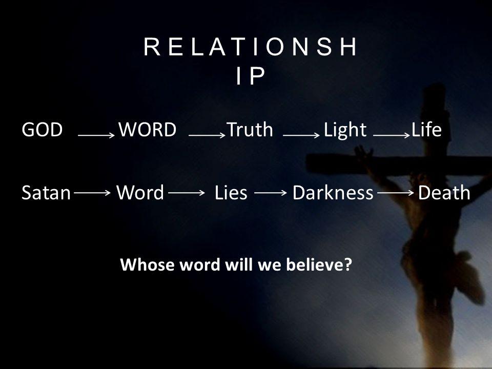R E L A T I O N S H I P GOD WORD Truth Light Life Satan Word Lies Darkness Death Whose word will we believe?