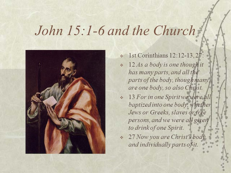 John 15:1-6 and the Church 1st Corinthians 12:12-13, 27: 12 As a body is one though it has many parts, and all the parts of the body, though many, are